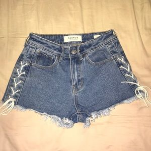 Lace up high waisted jeans shorts